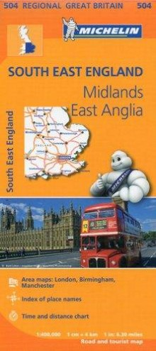 South East England, East Anglia, Midlands, 1:400 000, mapa samochodowa, Michelin