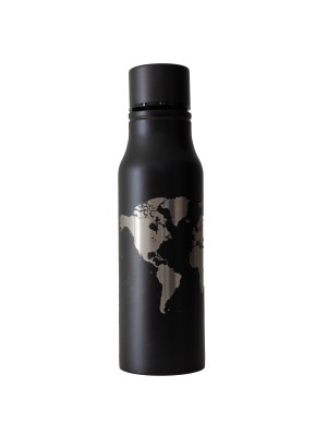 Bidon stalowy World - czarny 700ml, TravelSet